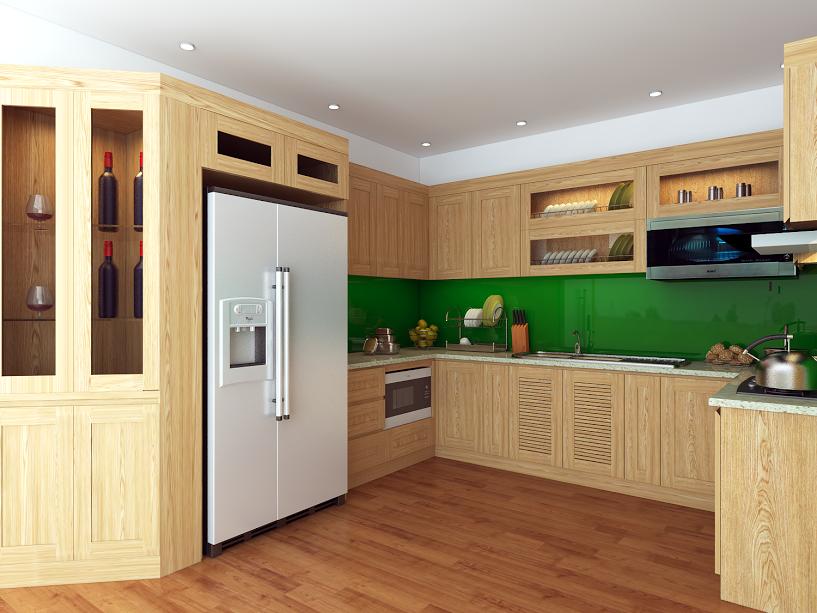 Tủ bếp gỗ sồi NHS-001