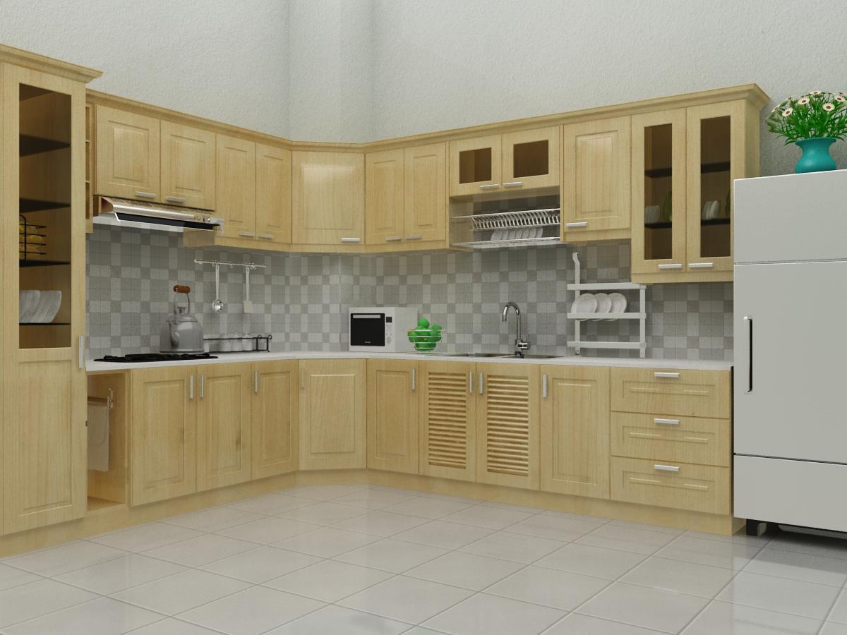 Tủ bếp gỗ sồi NHS-002