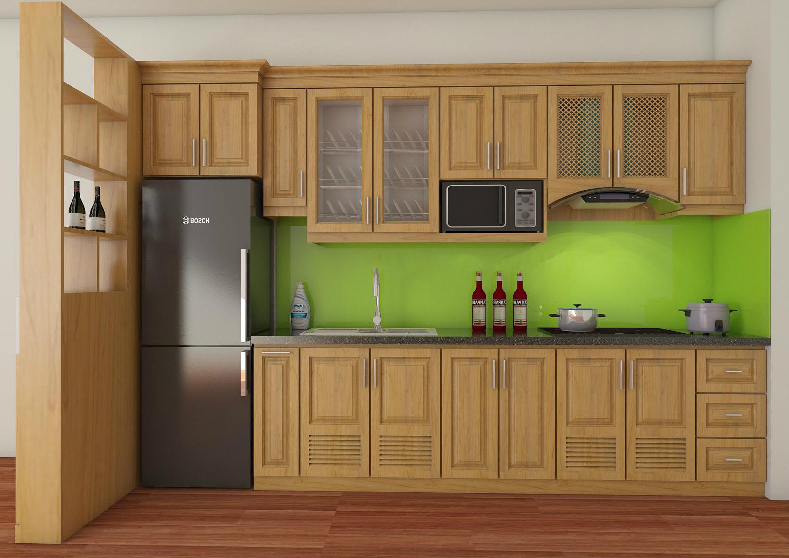 Tủ bếp gỗ sồi NHS-003