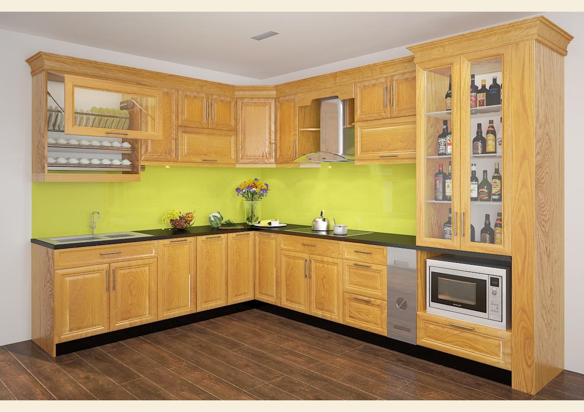 Tủ bếp gỗ sồi NHS-004