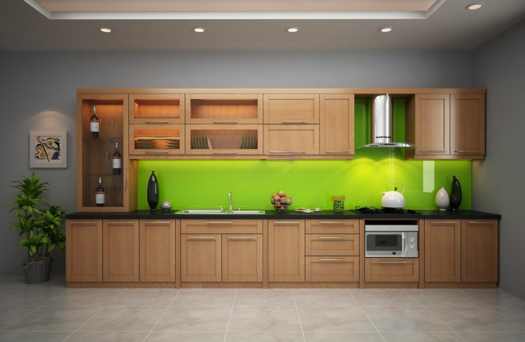 Tủ bếp gỗ sồi NHS-005