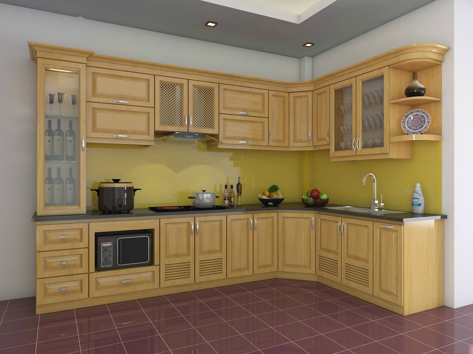Tủ bếp gỗ sồi NHS-012