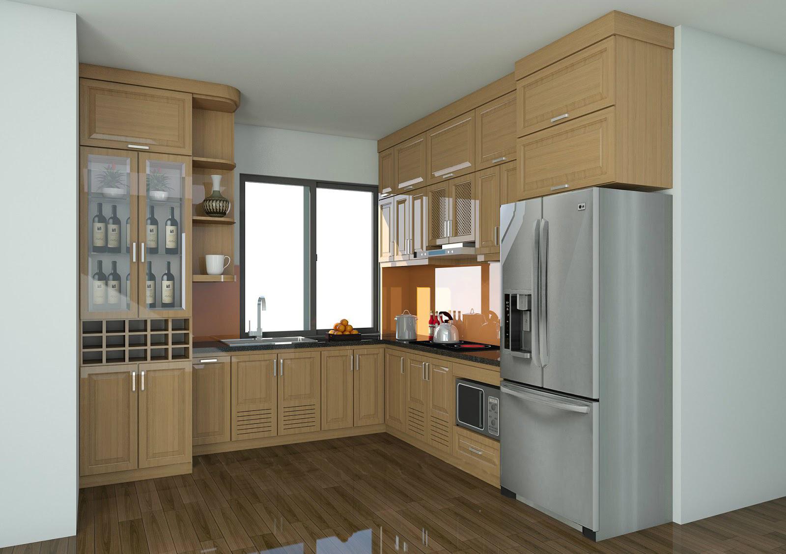 Tủ bếp gỗ sồi NHS-014