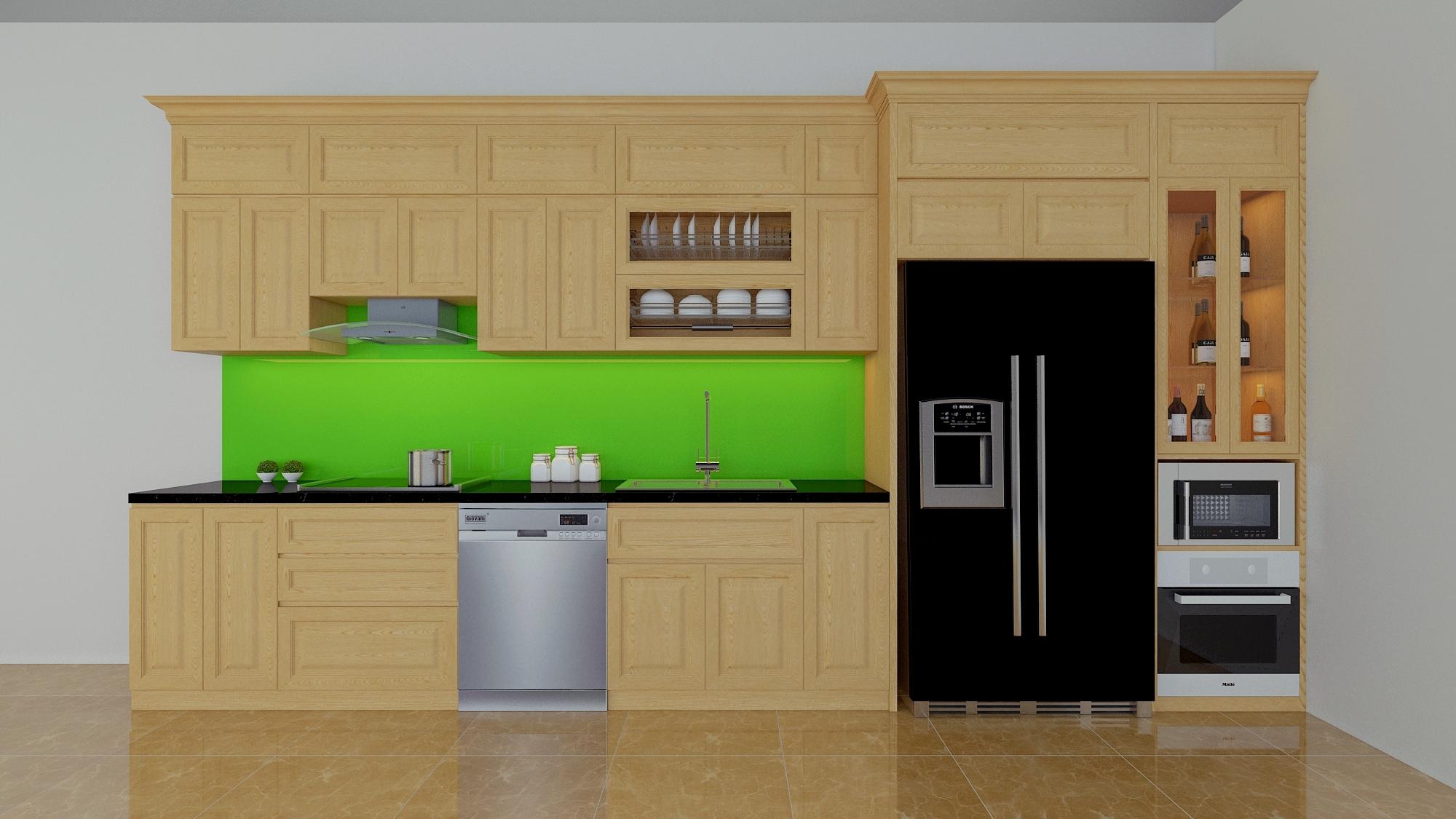 Tủ bếp gỗ sồi NHS-015