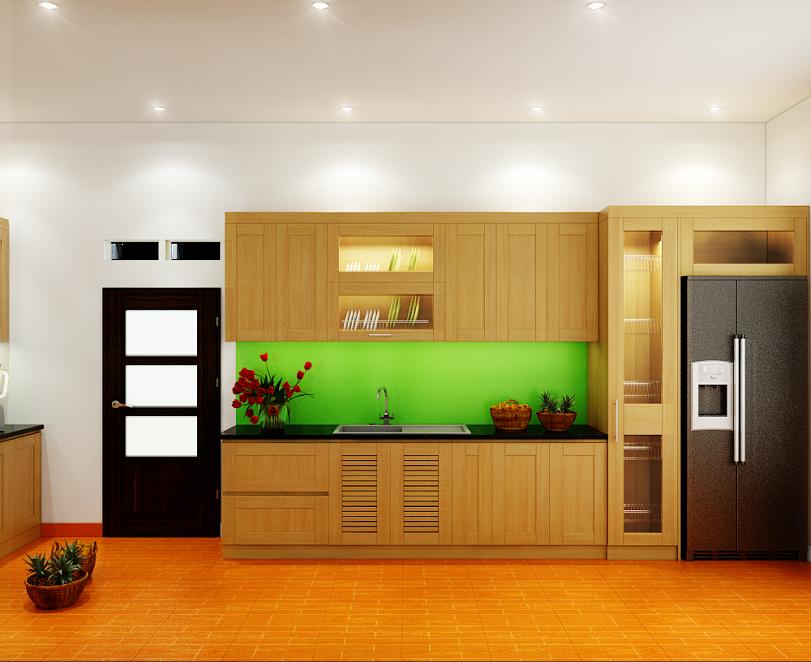Tủ bếp gỗ sồi NHS-016