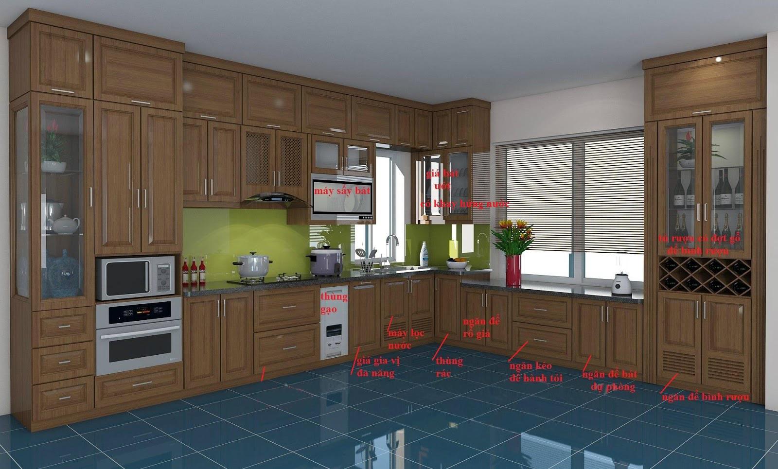 Tủ bếp gỗ sồi NHX-001