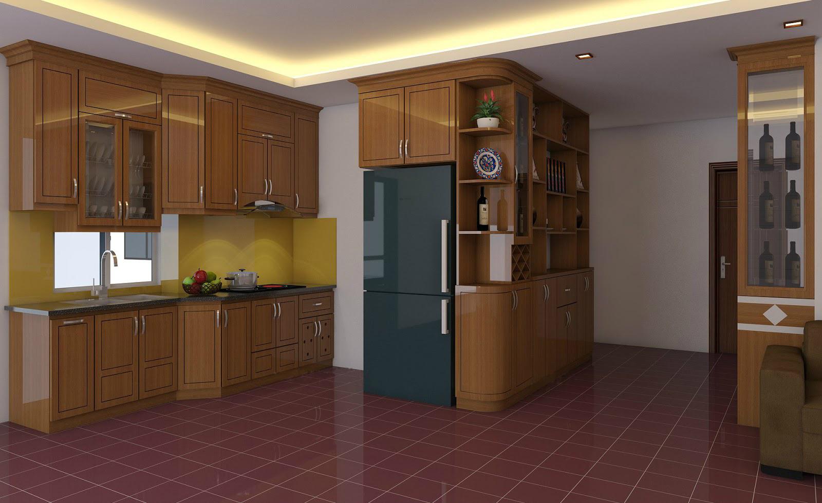 Tủ bếp gỗ sồi NHX-003