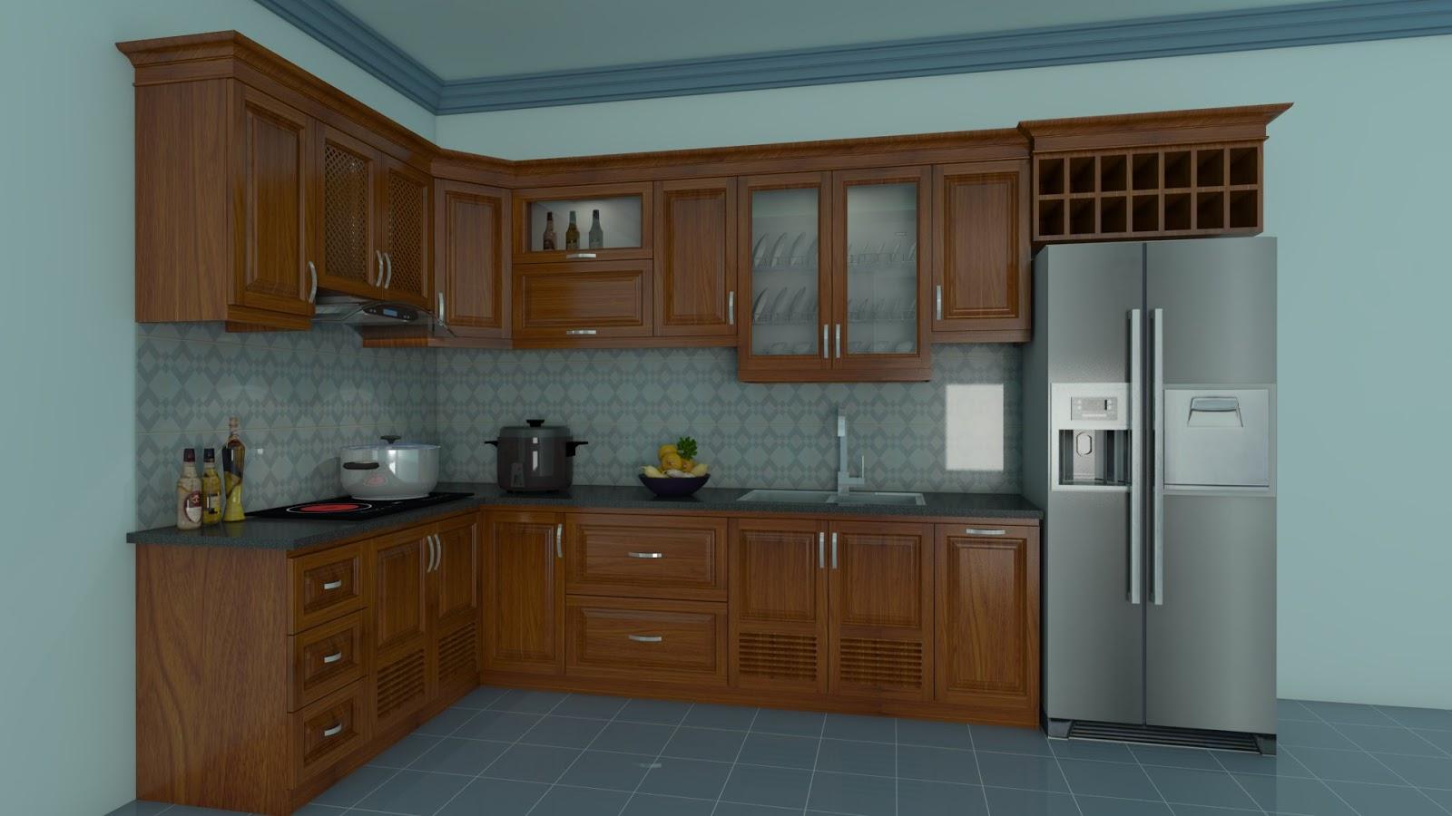 Tủ bếp gỗ sồi NHX-004