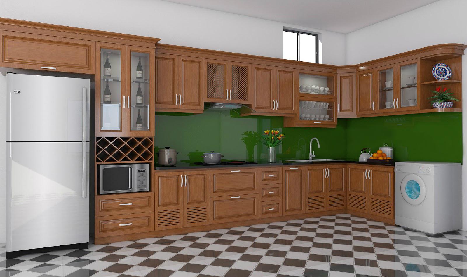 Tủ bếp gỗ sồi NHX-005