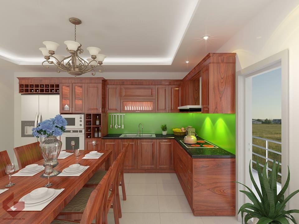 Tủ bếp gỗ sồi NHX-006