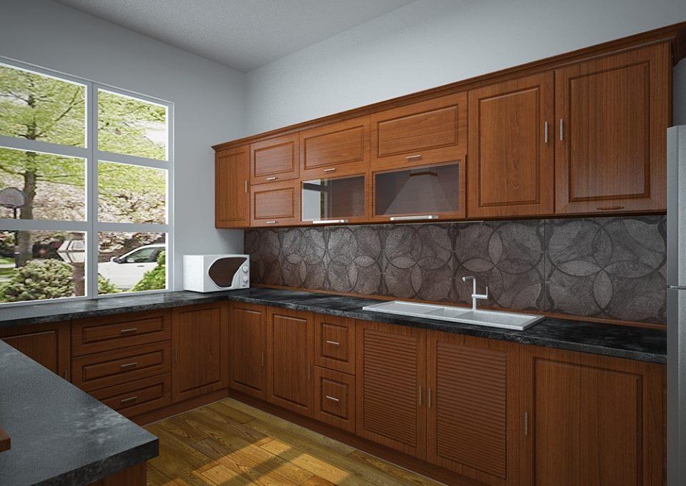 Tủ bếp gỗ sồi NHX-009