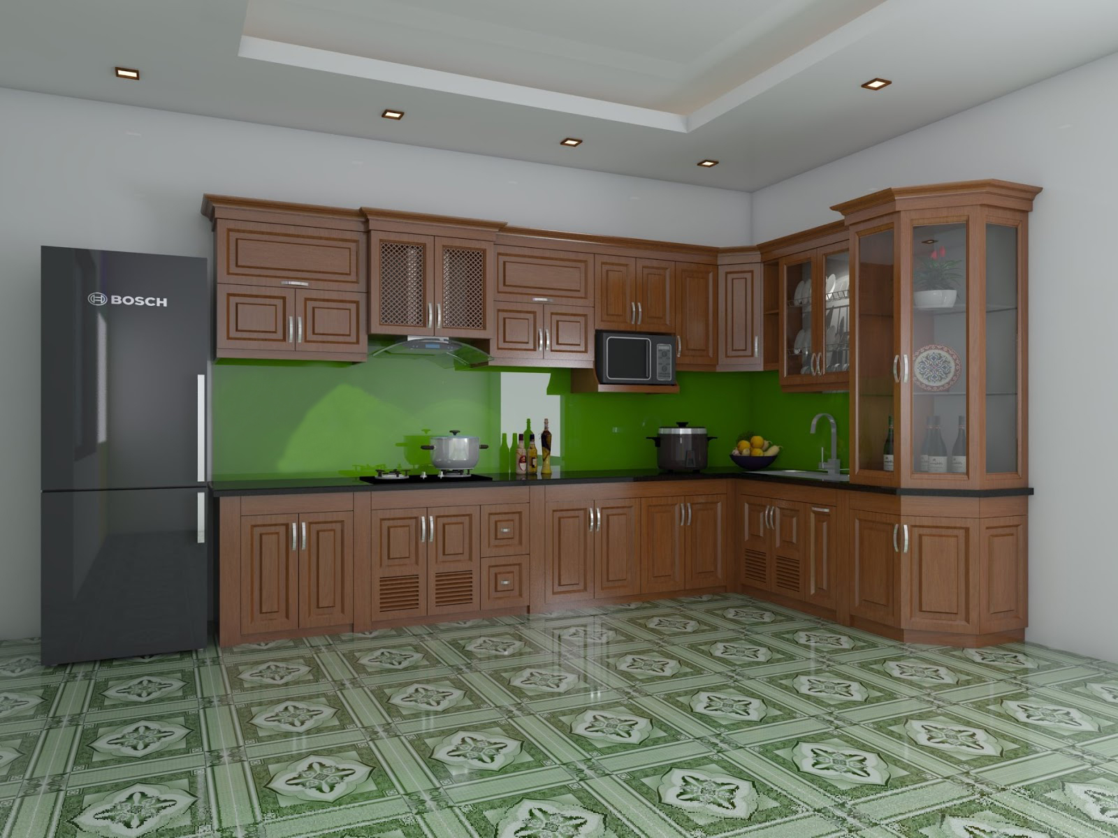 Tủ bếp gỗ sồi NHX-013