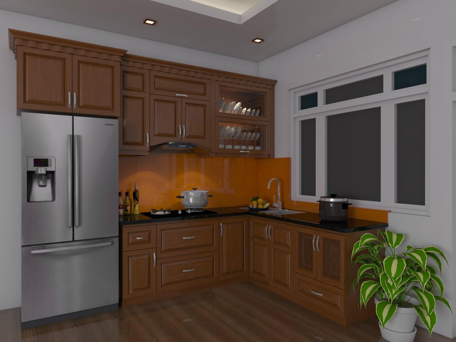 Tủ bếp gỗ sồi NHX-014