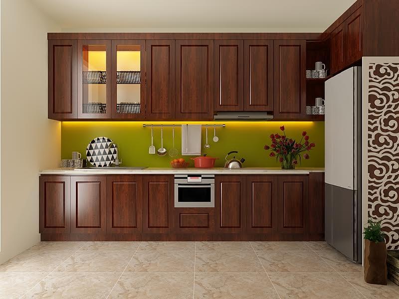 Tủ bếp gỗ sồi NHX-015